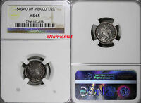 MEXICO REPUBLIC SILVER 1846 MO MF  1/2 REAL NGC MS65 TOP GRADED  KM 370.9