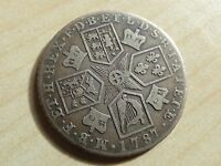 GEORGE III SHILLING 1787 SILVER WITH SEMEE OF HEARTS MYREFN11960