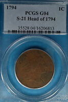 1794 LIBERTY CAP LARGE CENT PCGS G04  S 21 HEAD OF 1794 NICE LOOKIN EXAMPLE