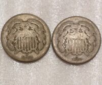 LOT OF 2 - 1864 & 1865 TWO CENT PIECES -GOOD OR SO -COMBINED SHIPPING