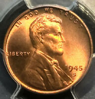 1945-S  LINCOLN CENT  PCGS MINT STATE 67RD