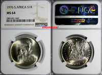 SOUTH AFRICA SILVER 1976 1 RAND NGC MINT STATE 64 SPRINGBOK MINTAGE-20,000 KM 88