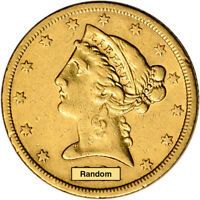 US GOLD $5 LIBERTY HEAD HALF EAGLE   EXTRA FINE   RANDOM DATE