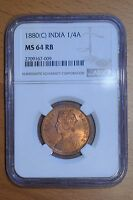 INDIA 1880 C  1/4 ANNA MS64 RED BROWN NGC CALCUTTA MINT