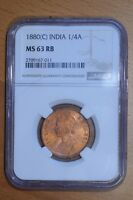 INDIA 1880 C  1/4 ANNA MS63 RED BROWN NGC CALCUTTA MINT