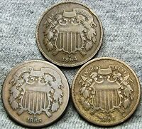1864 1865 1866 TWO CENT PIECES 2CP --- TYPE COIN LOT --- A169