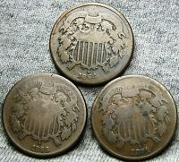 1864 1866 1871 TWO CENT PIECES 2CP --- TYPE COIN LOT --- A168