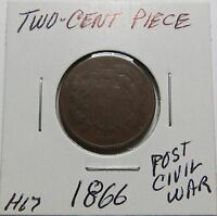 1866 TWO CENT PIECE  REAL  COIN   CIVIL WAR ERA COMBINED SHIP. LOT H67