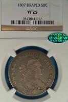 1807 DRAPED BUST HALF DOLLAR NGC VF25-  LOOKING CAC ENDORSED EXAMPLE