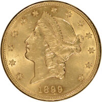 US GOLD $20 LIBERTY HEAD DOUBLE EAGLE   ALMOST UNCIRCULATED   RANDOM DATE