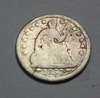 1853 H10C ARROWS LIBERTY SEATED HALF DIME   ABOUT GOOD CONDITION   COMBINE S&H