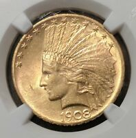 1908 $10 INDIAN GOLD WITH MOTTO  NGC AU 58 LOOKS MS  PRICED TO SELL