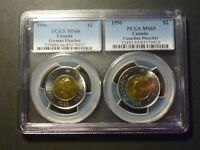 1996 $2 GERMAN  MS 66  & CANADIAN  MS 65  PLANCHETS PCGS DOUBLE SLAB