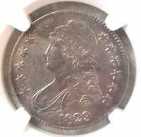 1829 CAPPED BUST HALF DOLLAR NGC AU 55 O 107. GREAT COLOR AND TONING