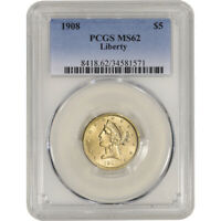 US GOLD $5 LIBERTY HEAD HALF EAGLE   PCGS MS62   RANDOM DATE