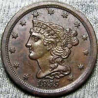 1855 BRAIDED HAIR HALF CENT 1/2 PENNY  --- STUNNING TYPE COIN   --- A608