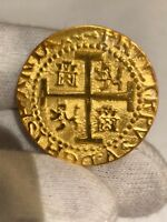 1  PERU LIMA 8 ESCUDOS 1710 22KT. PLATED GOLD DOUBLOON 1715 FLEET TREASURE COIN