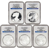 2011 AMERICAN SILVER EAGLE 25TH ANNIVERSARY 5 PC SET NGC MS70 PF70 EARLY RELEASE
