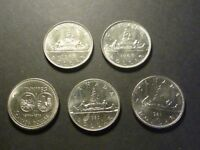 LOT OF FIVE CANADIAN NICKEL DOLLAR STRIKE THROUGH ERROR COINS