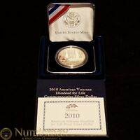 2010 VETERANS DISABLED FOR LIFE COMMEMORATIVE PROOF SILVER DOLLAR