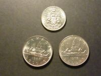 CANADIAN 50C AND NICKEL DOLLAR DIE CLASHES   LOT OF THREE COINS