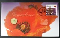 2015 AUSTRALIA REMEMBRANCE DAY PNC WITH $2 COLOURED COIN AND