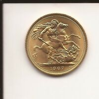 1967 FULL GOLD SOVEREIGN ELIZABETH II YOUNG HEAD