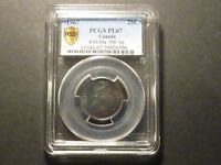 CANADA 1967 SILVER 25C PCGS SHIELD PL 67 WITH GEM TONING HIGHEST GRADED .500 AG