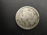 1868 US NICKEL 3 CENT PIECE   EARLY TYPE COIN