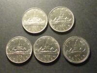 NICKEL DOLLAR VARIETY LOT   5 COINS OF SOME LESS COMMON VARIETIES