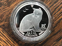 1990 ISLE OF MAN NEW YORK ALLEY CAT 1 OZ SILVER COIN .999 CR