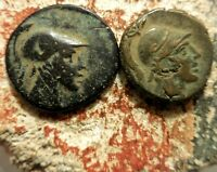 LOT OF 2 COINS OF AMISOS PONTOS. TIME OF MITHRADATES VI. AMI OY ACROSS FIELDS