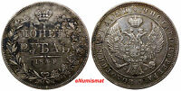 RUSSIA NICHOLAS I SILVER 1844 MW ROUBLE XF CONDITION TONED WARSAW MINT C 168.2