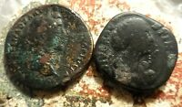 LOT OF 2 COINS SESTERTIUS 21.9 G ANTONINUS PIUS & DAUGHTER 23.5 G FAUSTINA JR