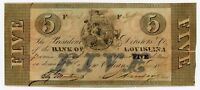 1862 $5 THE BANK OF LOUISIANA NOTE   CIVIL WAR ERA