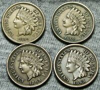 1859  1860  1862  1863 INDIAN HEAD CENTS     NICE COPPER NICKEL LOT     T083