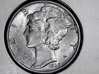 MERCURY DIME 1939 PHILADELPHIA MINT SILVER  B.U. UNCIRCULATED OUT STANDING  COND