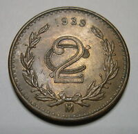 MEXICO 2 CENTAVOS 1939 M BRONZE KM 419 UNCIRCULATED.