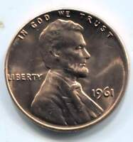 1961 LINCOLN MEMORIAL PENNY UNCIRCULATED AMERICAN ONE CENT COIN PHILADELPHIA