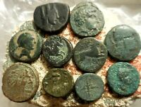 LOT OF 10 VF ANCIENT GREEK COINS  NICE LOT   LARGEST 20 MM.