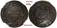 MEXICO COPPER 1862 MO 1 CENTAVO PATTERN NGC VF25 BN TOP GRADED KM PN86