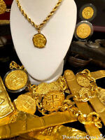 ATOCHA NEW GOLD PENDANT 2 ESCUDOS 22KT  DOUBLOON SHIPWRECK TREASURE JEWELRY COIN