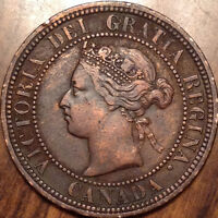 1876H CANADA LARGE 1 CENT PENNY IN GOOD CONDITION   CLEANED