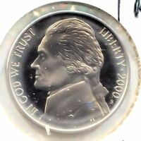 2000 S CAMEO PROOF JEFFERSON NICKEL   FIVE CENT COIN   SAN FRANCISCO MINT