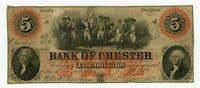 1860 $5 THE BANK OF CHESTER SOUTH CAROLINA NOTE
