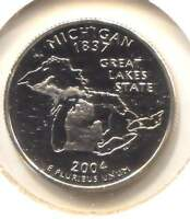 MICHIGAN CAMEO PROOF STATE QUARTER 2004 S COIN SAN FRANCISCO MINT