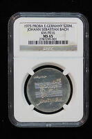 1975 EAST GERMANY   DDR . 20 MARK. BACH. PATTERN. INCUSE PR16. NGC GRADED MS 65