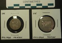 ECLIPSE TOKENS MADE IN ENGLAND MINT CONDITION TWO DIFFERENT SIZES