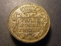 UK  CA. 1747  3 POUND 12  DOUBLE JOE  BRASS MILLED COIN WEIGHT 28.01 GRAMS