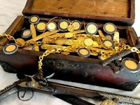 TREASURE CHEST REAL 1600 1700S CARRIED GOLD COB DOUBLOONS ESCUDOS IN GALLEON